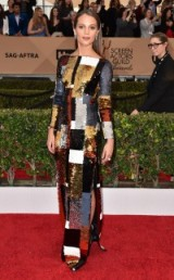 SAG Awards red carpet fashion – Alicia Vikander shimmered wearing a multi-coloured sequin patchwork style Louis Vuitton gown, January 2016. Celebrity dresses | celebrities at events | star style