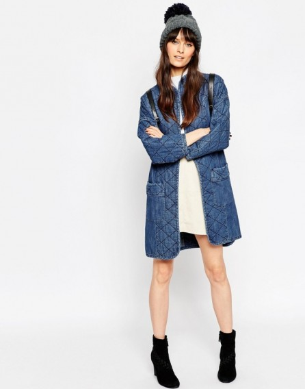 ASOS Denim Premium Longline Quilted Jacket. Casual Fashion | Long ... | SnapFashionista.com