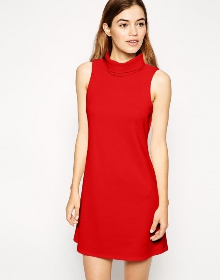 ASOS Shift Dress with Roll Neck in Ponte – Cream