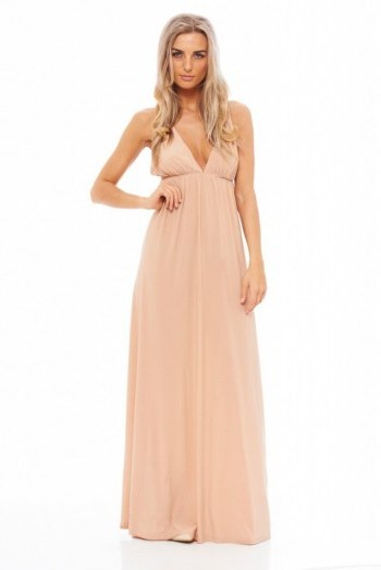 AX Paris slinky plunge maxi dress in nude. Long party dresses | plunging necklines | low cut evening wear | deep V necklines - flipped