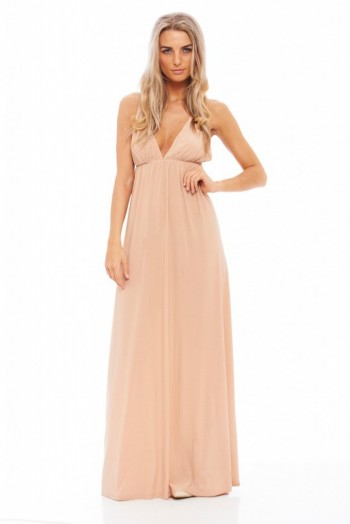 AX Paris slinky plunge maxi dress in nude. Long party dresses | plunging necklines | low cut evening wear | deep V necklines