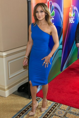 Jennifer Lopez Wore An Electric Blue One Shoulder Dress And Nude C
