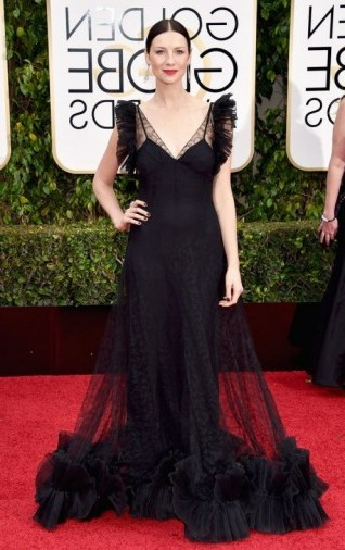Caitriona Balfe dressed in a black semi sheer Alexander McQueen gown,10 January 2016 – Golden Globe Awards, Beverly Hilton Hotel, Beverly Hills, California. Celebrity fashion | star style | designer gowns | celebrities at red carpet events | Golden Globes - flipped