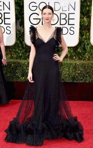 Caitriona Balfe dressed in a black semi sheer Alexander McQueen gown,10 January 2016 – Golden Globe Awards, Beverly Hilton Hotel, Beverly Hills, California. Celebrity fashion | star style | designer gowns | celebrities at red carpet events | Golden Globes