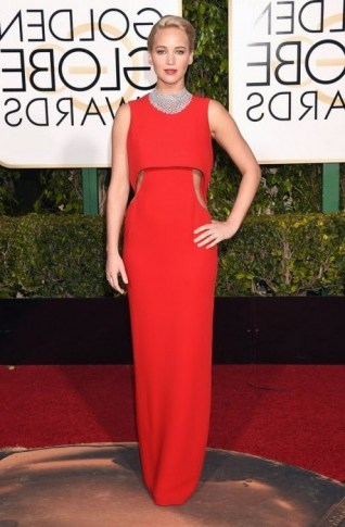 Jennifer Lawrence wearing a red sleeveless Dior cut out gown, 10 January 2016 – Golden Globe Awards, Beverly Hilton Hotel, Beverly Hills, California. Celebrity fashion | star style | designer gowns | celebrities at red carpet events | Golden Globes - flipped
