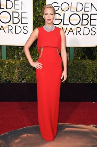 Jennifer Lawrence wearing a red sleeveless Dior cut out gown, 10 January 2016 – Golden Globe Awards, Beverly Hilton Hotel, Beverly Hills, California. Celebrity fashion | star style | designer gowns | celebrities at red carpet events | Golden Globes