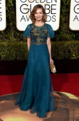 Calista Flockhart wearing a floaty teal Andrew GN gown, 10 January 2016 – Golden Globe Awards, Beverly Hilton Hotel, Beverly Hills, California. Celebrity fashion | star style | designer gowns | celebrities at red carpet events | Golden Globes