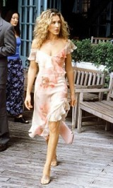 Sarah Jessica Parker as Carrie Bradshaw wearing a floral ruffle dress with asymmetric hem by Richard Tyler ~ SATC dresses ~ Sex and the City fashion ~ SJP