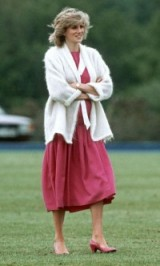Princess Diana in 1984 wearing a dark pink dress and a white mohair cardigan ~ royal pregnancy style ~ Diana's fashion ~ royalty