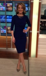 Looking every bit like a damsel in a dress, Charlotte Hawkins wears a dark blue damselinadress.co.uk dress and zara.com shoes