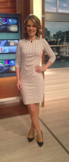 Charlotte Hawkins – check dress from phase-eight.com and shoes from TedBaker.com