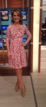 The beautiful Charlotte Hawkins wearing a beautiful dress from fennwrightmanson.com and shoes from Office.co.uk