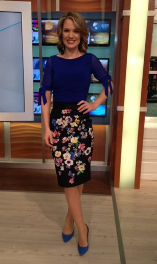 The ever delightful Charlotte Hawkins in a coast-stores.com blue top with sheer arms, damselinadress.co.uk skirt and LKBennett.com shoes #gmb