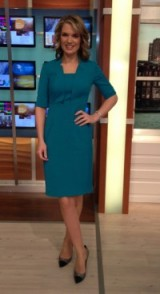 A green looking Charlotte Hawkins in a LKBennett.com dress and Office.co.uk shoes