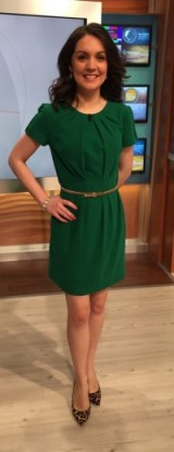 Laura Tobin looking pretty in a green Jasper Conran dress from Debenhams.com and Michael Kors leopard print shoes