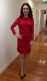 Laura Tobin in a red lace tedbaker.com dress and lkbennett.com shoes