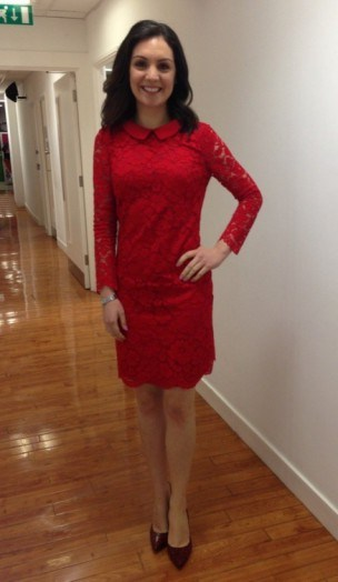 Laura Tobin in a red lace tedbaker.com dress and lkbennett.com shoes - flipped