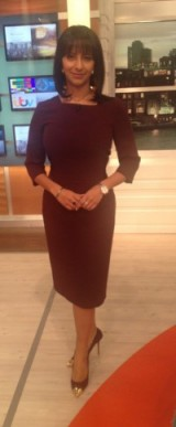 Ranvir Singh looks really pretty in this Fee G dress, she also has DuneLondon.com shoes on