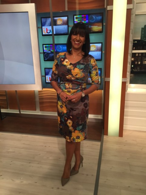 Ranvir Singh in pretty lukelovely.com dress on GMB