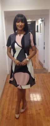 Ranvir Singh a Patrizia Dini dress from kaleidoscope.co.uk and Next.co.uk shoes