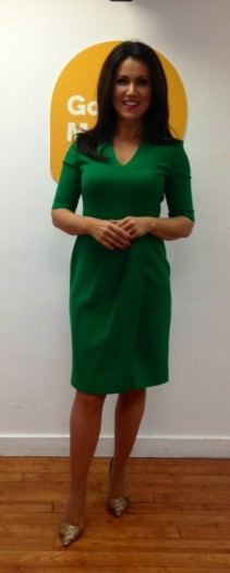 Susanna Reid looking wonderful in a green dress from hobbs.co.uk and office.co.uk shoes