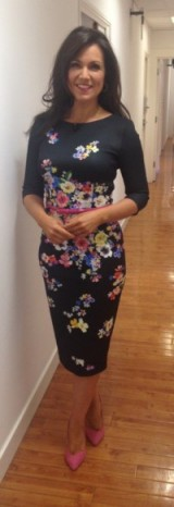 Susanna Reid – black floral dress from damselinadress.co.uk and shoes from Next.co.uk