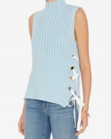 DEREK LAM 10 CROSBY GROMMET LACE-UP SIDE SLEEVELESS SWEATER in blue. Designer knitwear | high neck sweaters | ribbed jumpers | knitted tops