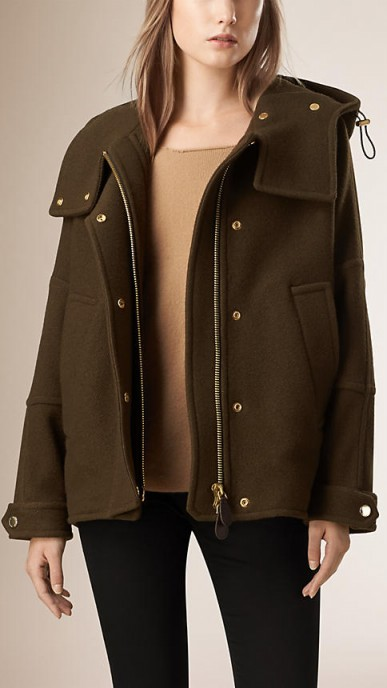 Double virgin wool cashmere parka in military olive ~ Burberry coats ~ winter jackets ~ casual luxe ~ designer outerwear