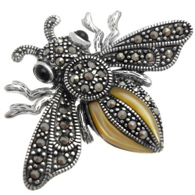 Elina H Sterling Silver Marcasite Bee Brooch ~ insect brooches ~ vintage style jewellery