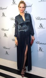 Uma Thurman dazzled in a dark grey sequined gown when she attended the Ralph & Russo and Chopard dinner during Paris Fashion Week Haute Couture S/S 2016 – celebrity style – star gowns – event fashion