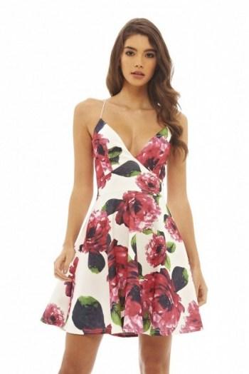 AX Paris floral printed skater dress with plunge front. Low cut party dresses | deep V neckline | plunging necklines | flower prints - flipped