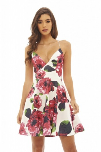 AX Paris floral printed skater dress with plunge front. Low cut party dresses | deep V neckline | plunging necklines | flower prints