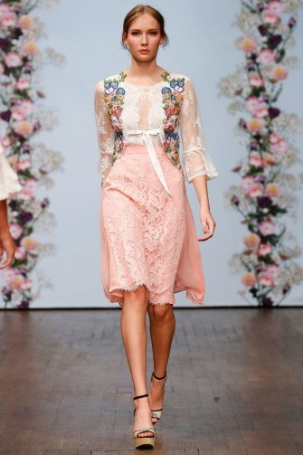 Ida Sjöstedt Spring 2016 – pink floral lace skirt and sheer white top - flipped