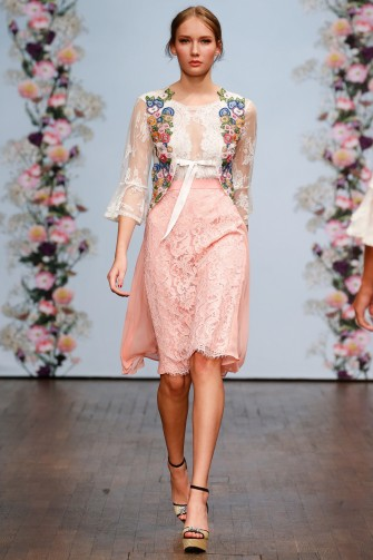 Ida Sjöstedt Spring 2016 – pink floral lace skirt and sheer white top