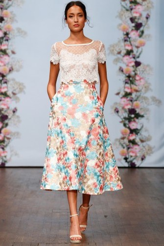 Ida Sjöstedt Spring 2016 – floral A-line skirt and sheet white top - flipped