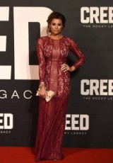 Jessica Wright attends the Creed UK premiere in London wearing a lace maxi dress in berry by the Jetset Diaries, available from revolveclothing.com. Celebrity fashion | star style | what celebrities wear | celebrities at film premieres | long occasion dresses | semi sheer