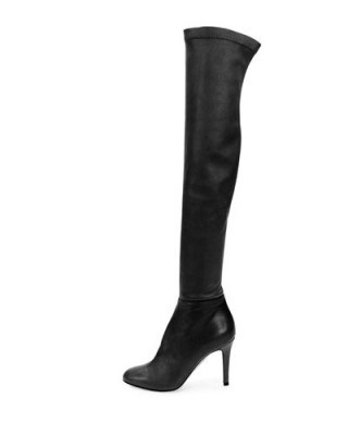 JIMMY CHOO Toni stretch-leather over-the-knee boots in black – as worn by Olivia Palermo at the Dior fashion show in Paris – Paris Haute Couture Fashion Week, 25 January 2016. Celebrity fashion | designer footwear | star style | what celebrities wear - flipped