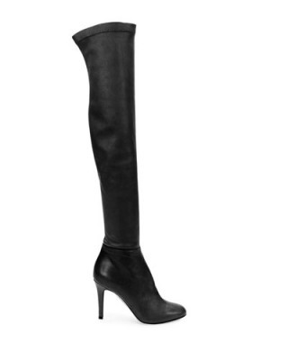 JIMMY CHOO Toni stretch-leather over-the-knee boots in black – as worn by Olivia Palermo at the Dior fashion show in Paris – Paris Haute Couture Fashion Week, 25 January 2016. Celebrity fashion | designer footwear | star style | what celebrities wear