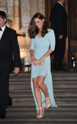 Catherine Duchess of Cambridge looking glamorous in a powder blue Jenny Packham gown and nude ankle tie sandals. Kate Middleton style ~ royal gowns ~ Kate's fashion ~ royalty ~ Kate Middleton's wardrobe