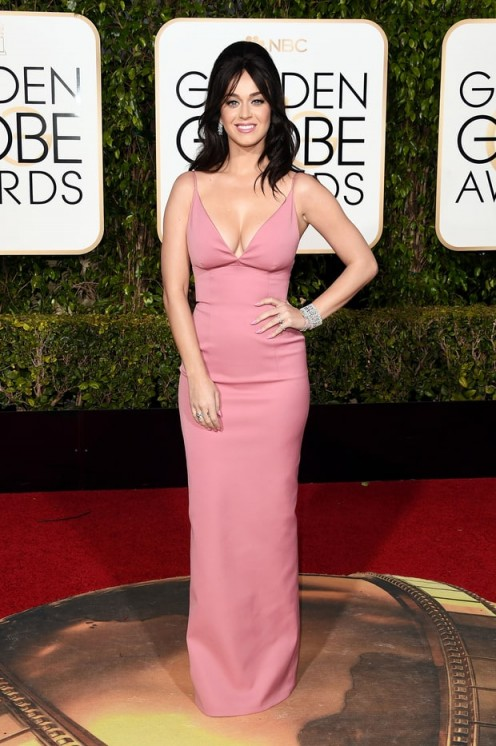 Katy Perry in pink Prada, 10 January 2016 – Golden Globe Awards, Beverly Hilton Hotel, Beverly Hills, California. Celebrity fashion | star style | designer gowns | celebrities at red carpet events | Golden Globes