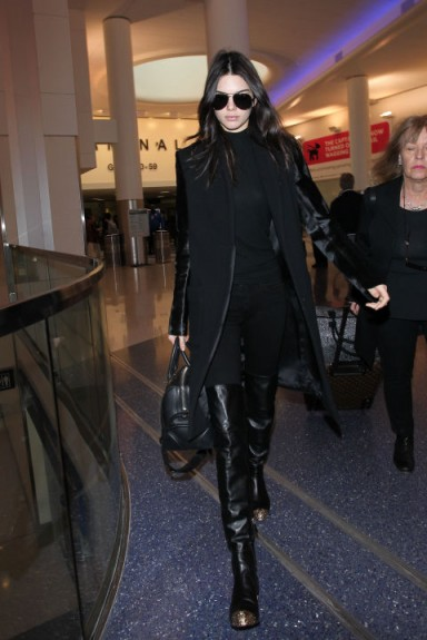 Kendall Jenner Chic In All Black Outfit At Lax November 2015 Cel