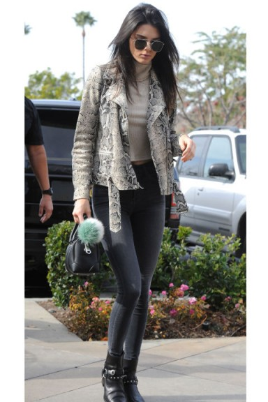 Kendall Jenner Street Style In A Snakeskin Printed Leather Jacket