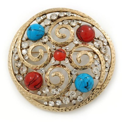 Avalaya Large Vintage Round Turquoise Stone, Crystal Brooch ~ brooches ~ jewellery ~ red and blue stones