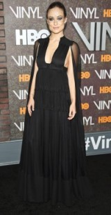 Olivia Wilde stunning in Valentino cape gown & veiled headpiece at the New York premiere of Vinyl January 2016