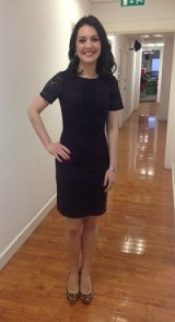 Laura Tobin back at work after the Christmas break in a warehouse.co.uk dress and michaelkors.com shoes