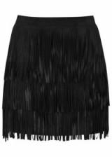 ALICE + OLIVIA Lavana tiered fringed suede mini skirt in black – as worn by Karolina Kurkova at Mercedes Benz Fashion Week in Berlin, 20 January 2016. Celebrity style clothing   designer fashion   fringe skirts   what celebrities wear