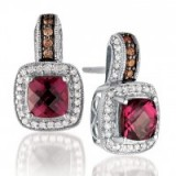 Le Vian 14ct Vanilla Gold diamond & rhodolite earrings ~ bling jewellery ~ diamonds ~ jewels ~ make a statement