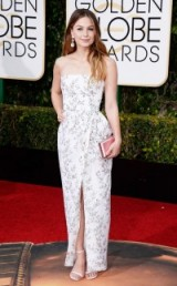 Melissa Benoist in a pretty floral Monique Lhuillier gown, 10 January 2016 – Golden Globe Awards, Beverly Hilton Hotel, Beverly Hills, California. Celebrity fashion | star style | designer gowns | celebrities at red carpet events | Golden Globes
