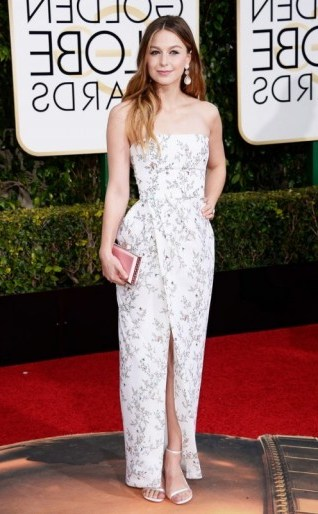Melissa Benoist in a pretty floral Monique Lhuillier gown, 10 January 2016 – Golden Globe Awards, Beverly Hilton Hotel, Beverly Hills, California. Celebrity fashion | star style | designer gowns | celebrities at red carpet events | Golden Globes - flipped