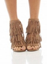 AX PARIS multi tassel faux suede heels mocha – fringed sandals – high heels shoes – party accessories – going out – evening footwear – tan / brown